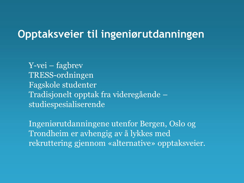 Opptaksveier til ingeniørutdanningen Y-vei – fagbrev TRESS-ordningen Fagskole studenter Tradisjonelt opptak fra videregående – studiespesialiserende Ingeniørutdanningene utenfor Bergen, Oslo og Trondheim er avhengig av å lykkes med rekruttering gjennom «alternative» opptaksveier.