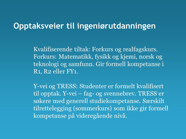 Opptaksveier til ingeniørutdanningen Kvalifiserende tiltak: Forkurs og realfagskurs. Forkurs: Matematikk, fysikk og kjemi, norsk og teknologi og samfu