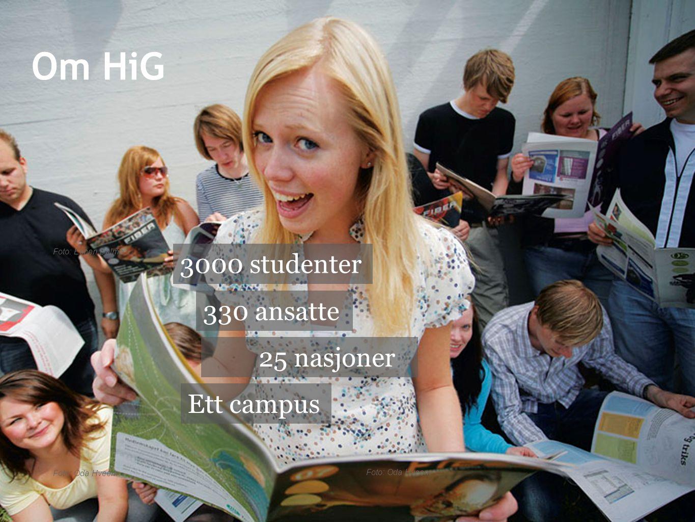 Foto: Oda Hveem Foto: Espen Dalmo Foto: Oda Hveem 25 nasjoner 330 ansatte 3000 studenter Ett campus Om HiG