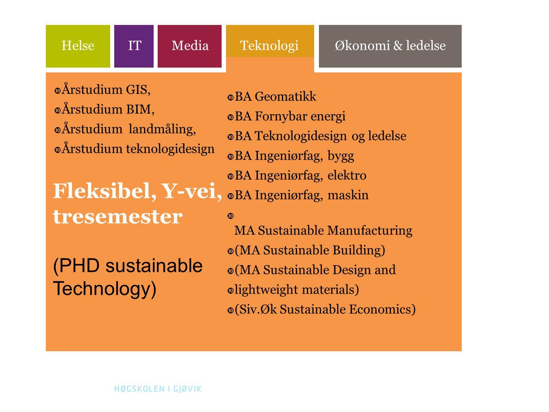 17 HelseITMediaTeknologiØkonomi & ledelse  Årstudium GIS,  Årstudium BIM,  Årstudium landmåling,  Årstudium teknologidesign  BA Geomatikk  BA Fornybar energi  BA Teknologidesign og ledelse  BA Ingeniørfag, bygg  BA Ingeniørfag, elektro  BA Ingeniørfag, maskin  MA Sustainable Manufacturing  (MA Sustainable Building)  (MA Sustainable Design and  lightweight materials)  (Siv.Øk Sustainable Economics) Fleksibel, Y-vei, tresemester (PHD sustainable Technology)