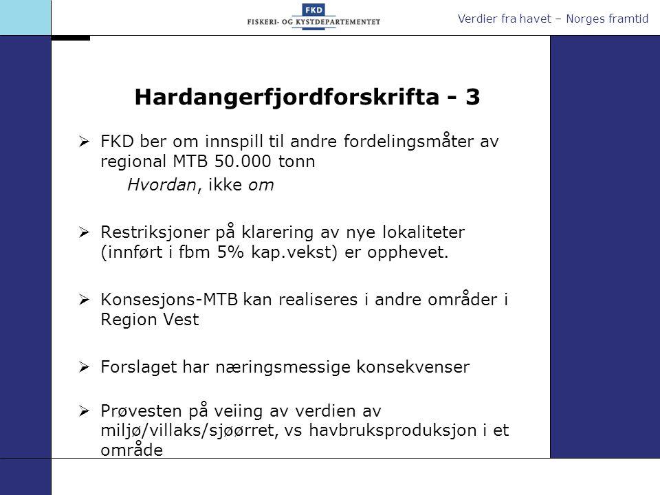Hardangerfjordforskrifta - 3  FKD ber om innspill til andre fordelingsmåter av regional MTB 50.000 tonn Hvordan, ikke om  Restriksjoner på klarering av nye lokaliteter (innført i fbm 5% kap.vekst) er opphevet.