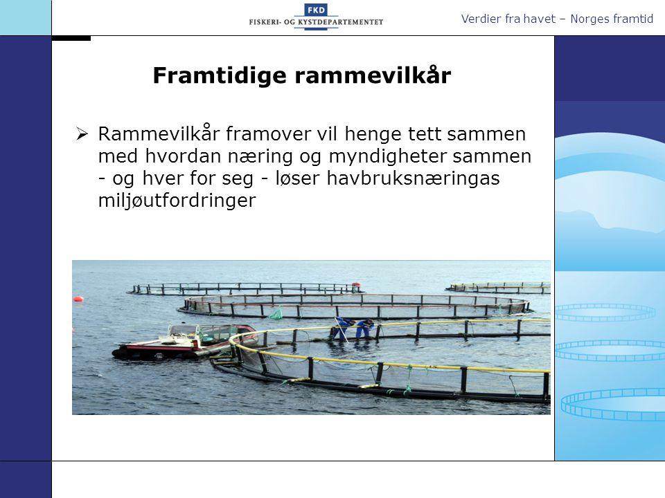 Verdier fra havet – Norges framtid Framtidige rammevilkår  Rammevilkår framover vil henge tett sammen med hvordan næring og myndigheter sammen - og hver for seg - løser havbruksnæringas miljøutfordringer