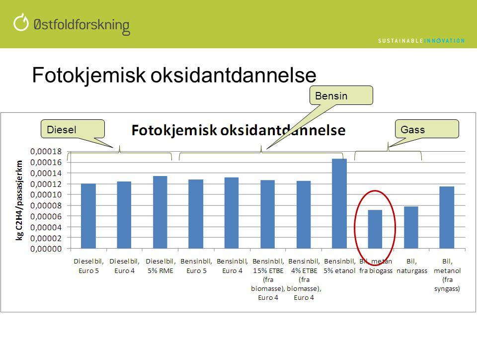 Fotokjemisk oksidantdannelse Bensin DieselGass