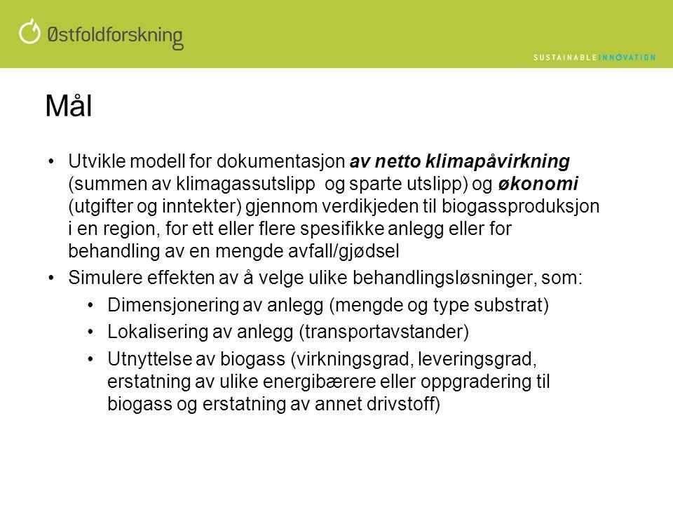 Mål •Utvikle modell for dokumentasjon av netto klimapåvirkning (summen av klimagassutslipp og sparte utslipp) og økonomi (utgifter og inntekter) gjenn