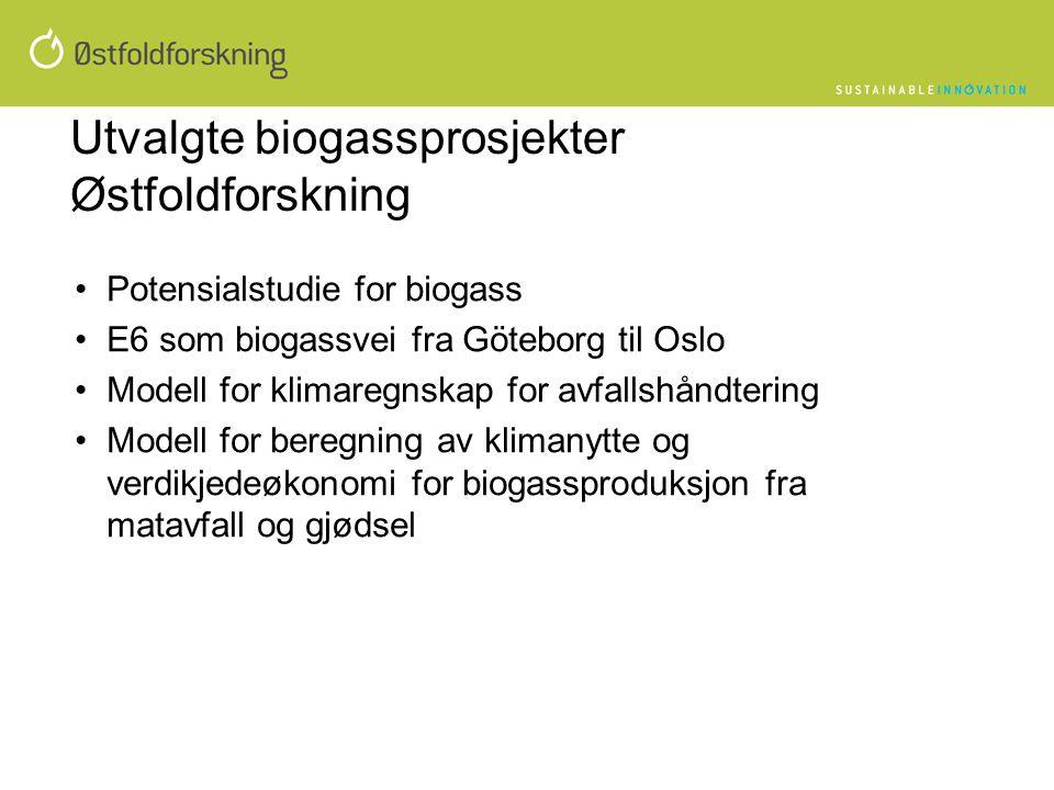 Utvalgte biogassprosjekter Østfoldforskning •Potensialstudie for biogass •E6 som biogassvei fra Göteborg til Oslo •Modell for klimaregnskap for avfall