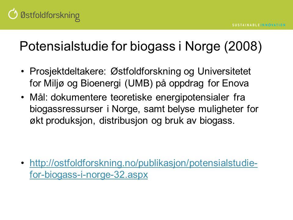 Potensialstudie for biogass i Norge (2008) •Prosjektdeltakere: Østfoldforskning og Universitetet for Miljø og Bioenergi (UMB) på oppdrag for Enova •Må