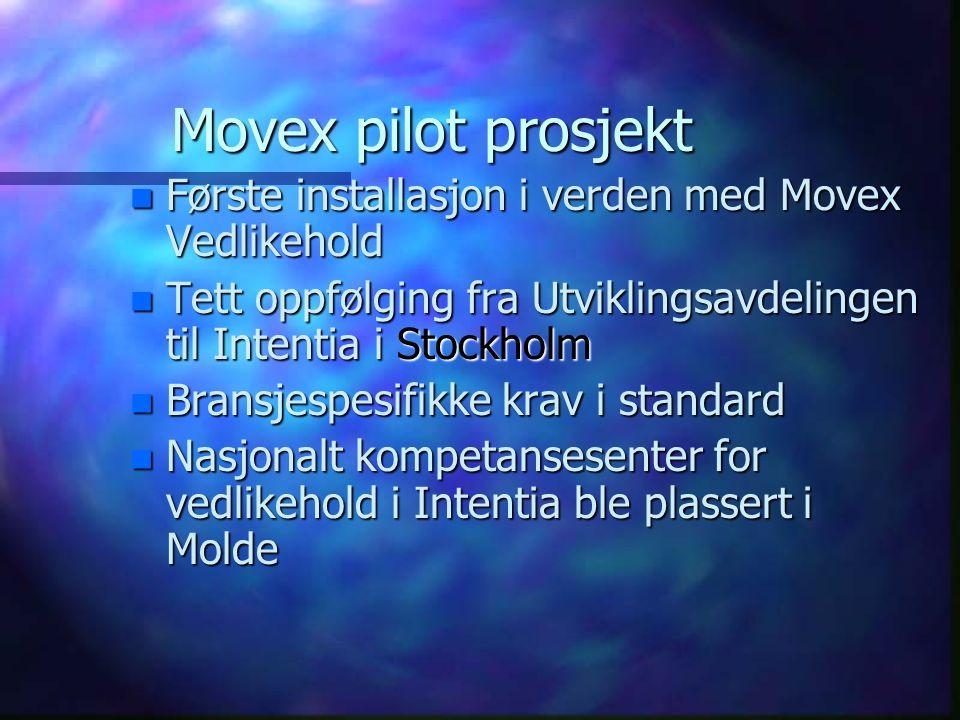 Movex pilot prosjekt n Første installasjon i verden med Movex Vedlikehold n Tett oppfølging fra Utviklingsavdelingen til Intentia i Stockholm n Bransj