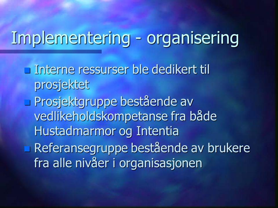 Implementering - organisering n Interne ressurser ble dedikert til prosjektet n Prosjektgruppe bestående av vedlikeholdskompetanse fra både Hustadmarm