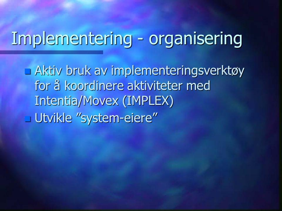 """Implementering - organisering n Aktiv bruk av implementeringsverktøy for å koordinere aktiviteter med Intentia/Movex (IMPLEX) n Utvikle """"system-eiere"""""""