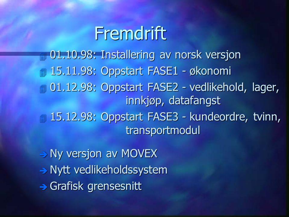 Fremdrift 4 01.10.98: Installering av norsk versjon 4 15.11.98: Oppstart FASE1 - økonomi 4 01.12.98: Oppstart FASE2 - vedlikehold, lager, innkjøp, dat