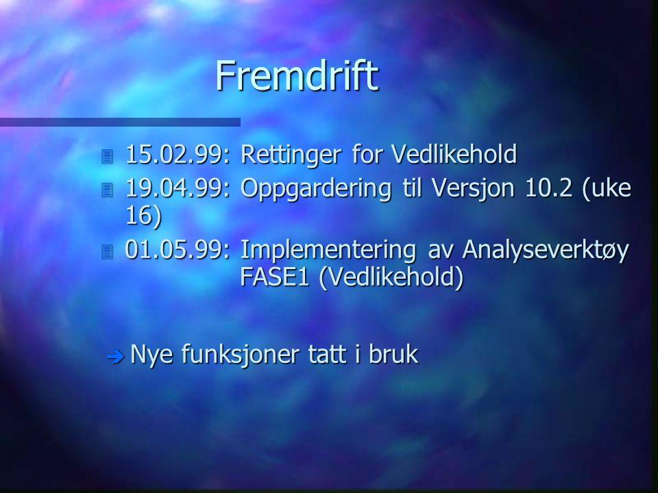 Fremdrift 3 15.02.99: Rettinger for Vedlikehold 3 19.04.99: Oppgardering til Versjon 10.2 (uke 16) 3 01.05.99: Implementering av Analyseverktøy FASE1