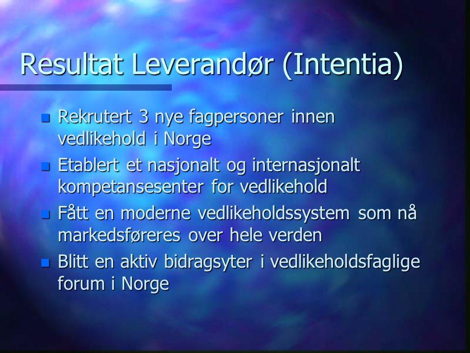 Resultat Leverandør (Intentia) n Rekrutert 3 nye fagpersoner innen vedlikehold i Norge n Etablert et nasjonalt og internasjonalt kompetansesenter for