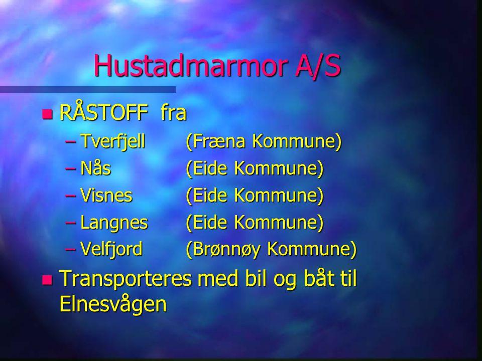 Hustadmarmor A/S n RÅSTOFF fra –Tverfjell(Fræna Kommune) –Nås(Eide Kommune) –Visnes(Eide Kommune) –Langnes(Eide Kommune) –Velfjord(Brønnøy Kommune) n