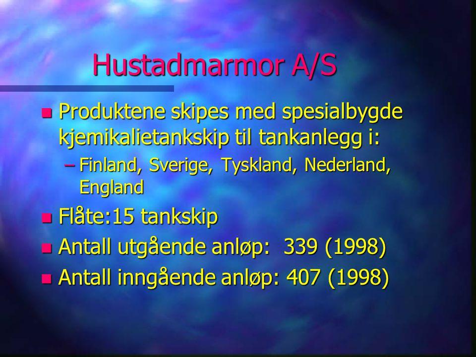 Hustadmarmor A/S n Produktene skipes med spesialbygde kjemikalietankskip til tankanlegg i: –Finland, Sverige, Tyskland, Nederland, England n Flåte:15