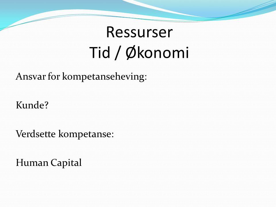 Ressurser Tid / Økonomi Ansvar for kompetanseheving: Kunde? Verdsette kompetanse: Human Capital