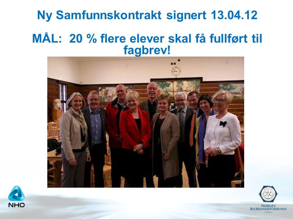 Ny Samfunnskontrakt signert 13.04.12 MÅL: 20 % flere elever skal få fullført til fagbrev!