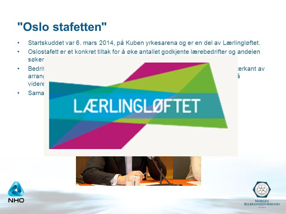 Oslo stafetten •Startskuddet var 6.mars 2014, på Kuben yrkesarena og er en del av Lærlingløftet.