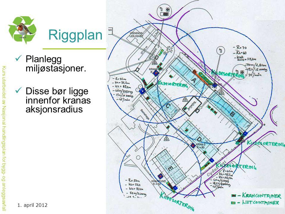 Kurs utarbeidet av Nasjonal handlingsplan for bygg- og anleggsavfall Riggplan  Planlegg miljøstasjoner.  Disse bør ligge innenfor kranas aksjonsradi
