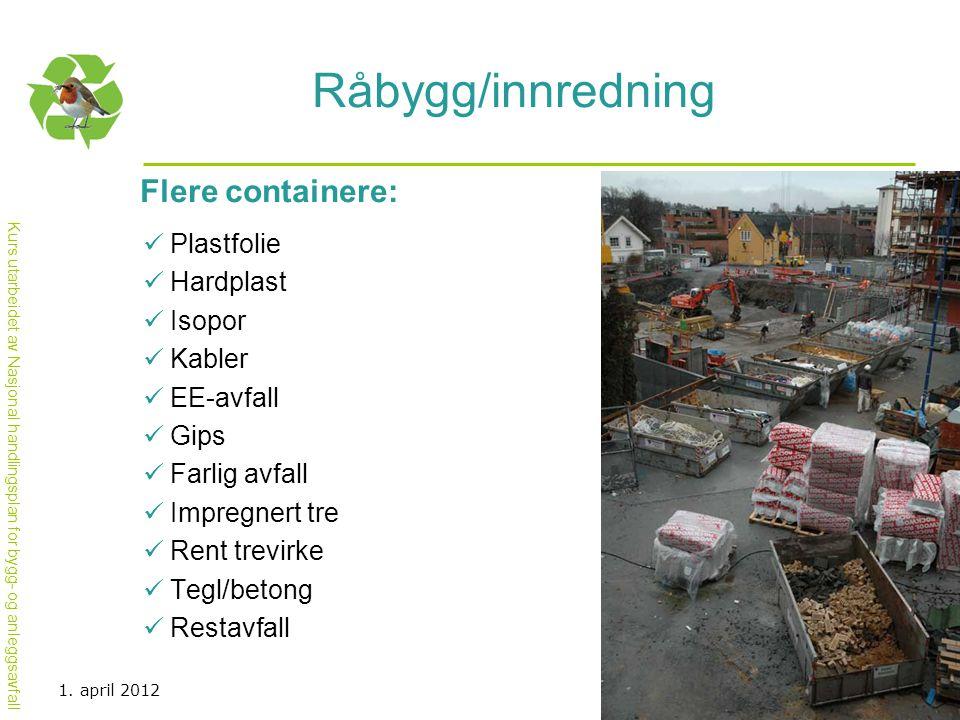 Kurs utarbeidet av Nasjonal handlingsplan for bygg- og anleggsavfall Råbygg/innredning Flere containere:  Plastfolie  Hardplast  Isopor  Kabler 