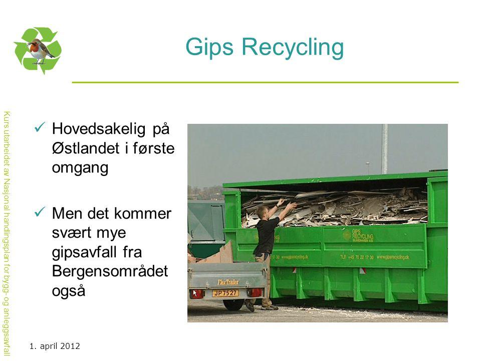 Kurs utarbeidet av Nasjonal handlingsplan for bygg- og anleggsavfall Gips Recycling  Hovedsakelig på Østlandet i første omgang  Men det kommer svært