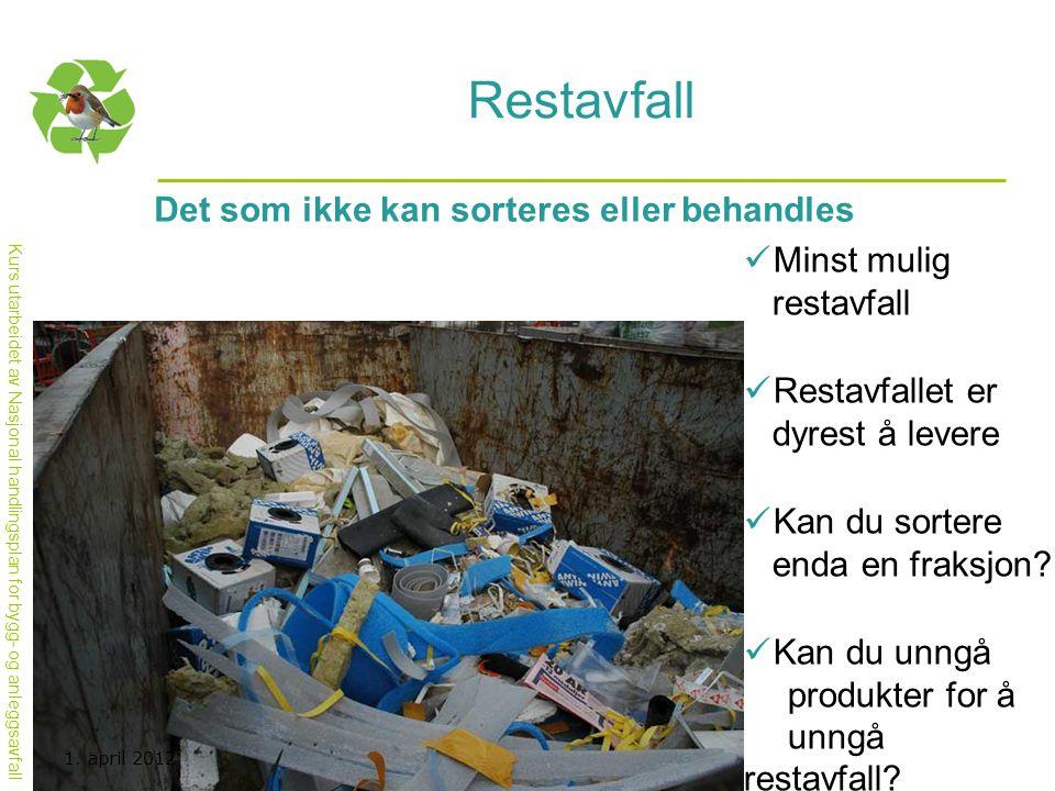Kurs utarbeidet av Nasjonal handlingsplan for bygg- og anleggsavfall Restavfall Det som ikke kan sorteres eller behandles  Minst mulig restavfall  R