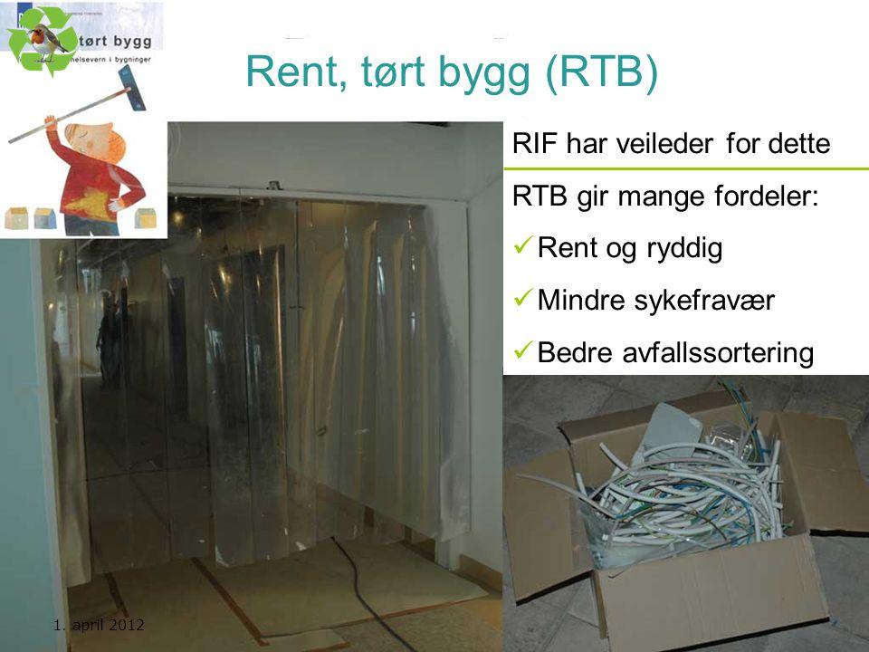 Kurs utarbeidet av Nasjonal handlingsplan for bygg- og anleggsavfall Rent, tørt bygg (RTB) RIF har veileder for dette RTB gir mange fordeler:  Rent o
