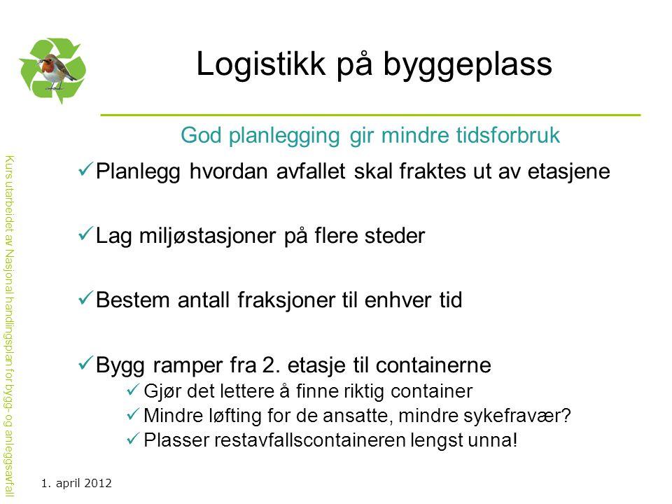 Kurs utarbeidet av Nasjonal handlingsplan for bygg- og anleggsavfall Logistikk på byggeplass  Planlegg hvordan avfallet skal fraktes ut av etasjene 