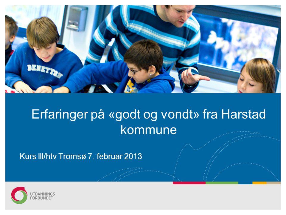 Erfaringer på «godt og vondt» fra Harstad kommune Kurs lll/htv Tromsø 7. februar 2013