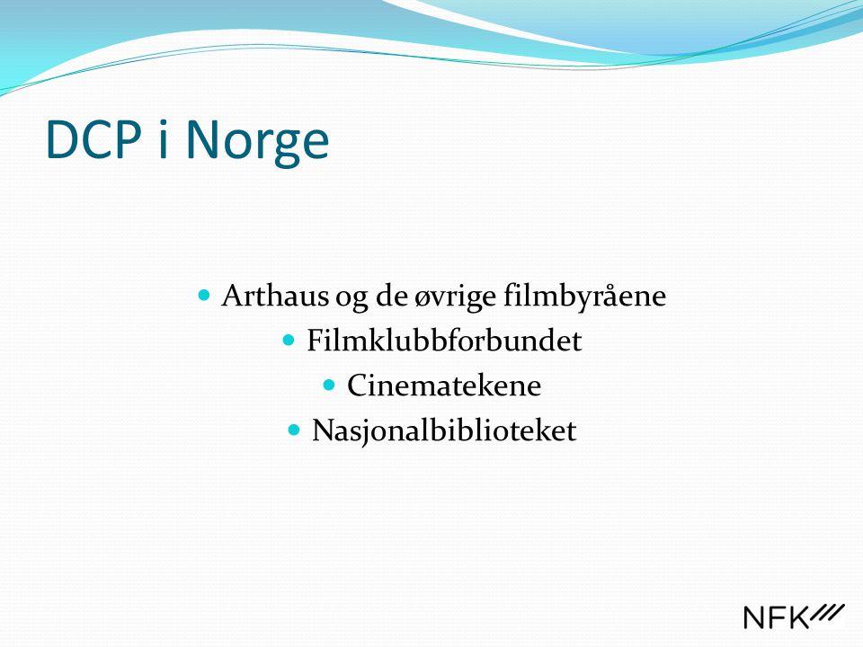 DCP i Norge  Arthaus og de øvrige filmbyråene  Filmklubbforbundet  Cinematekene  Nasjonalbiblioteket