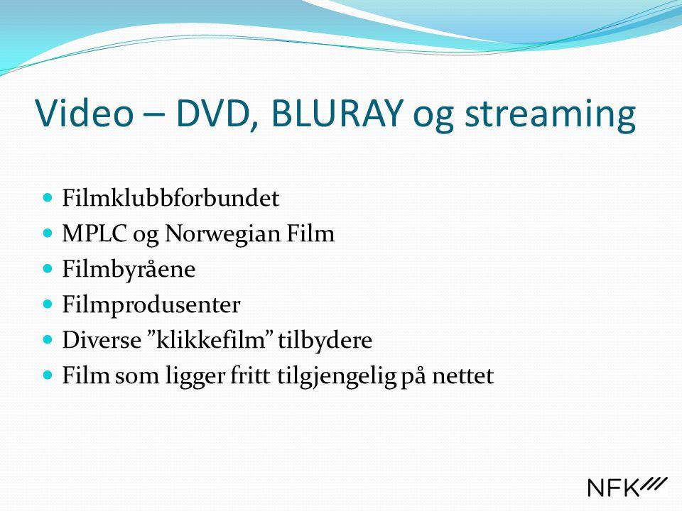 """Video – DVD, BLURAY og streaming  Filmklubbforbundet  MPLC og Norwegian Film  Filmbyråene  Filmprodusenter  Diverse """"klikkefilm"""" tilbydere  Film"""
