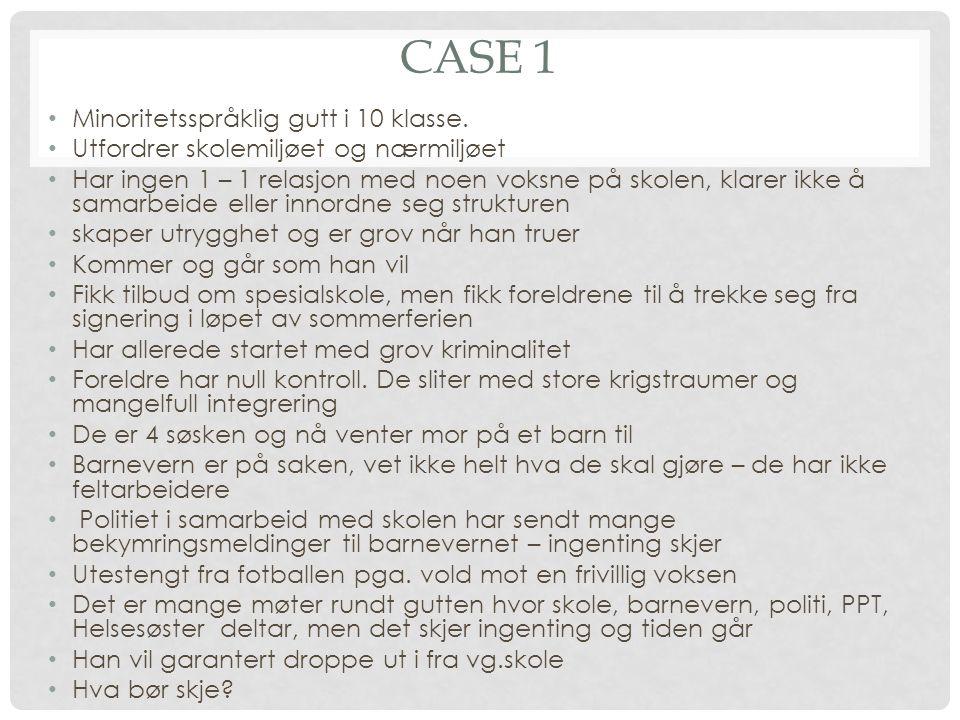 CASE 1 • Minoritetsspråklig gutt i 10 klasse.