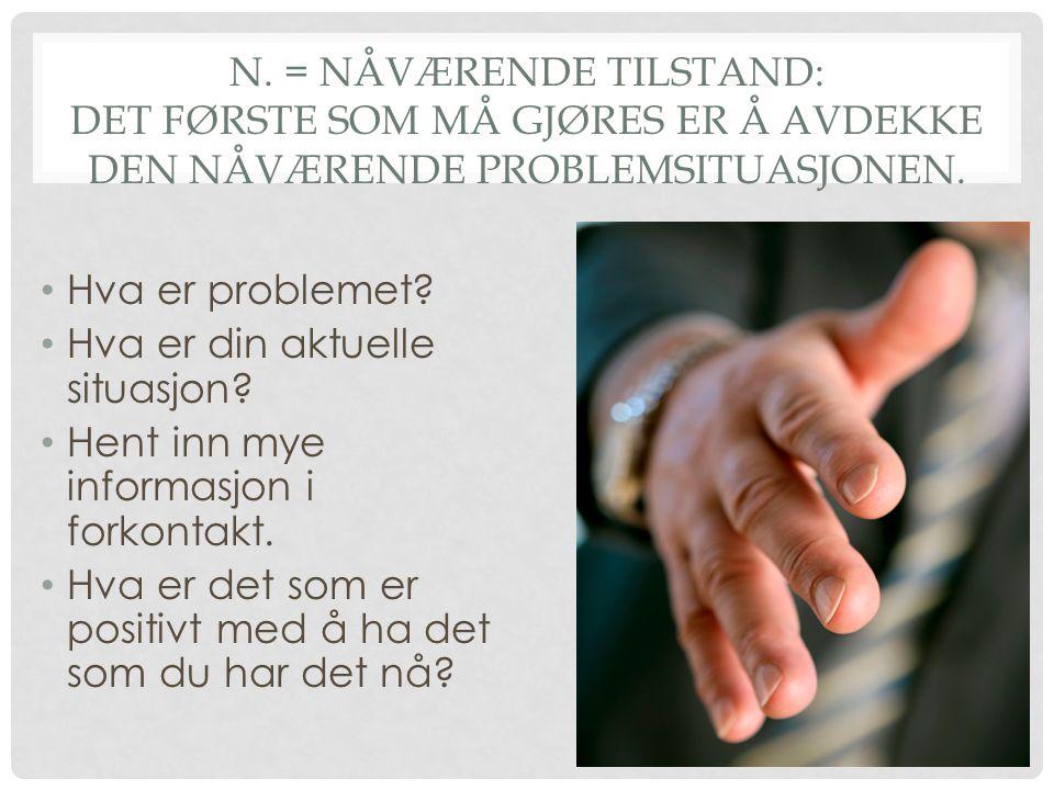 N.= NÅVÆRENDE TILSTAND: DET FØRSTE SOM MÅ GJØRES ER Å AVDEKKE DEN NÅVÆRENDE PROBLEMSITUASJONEN.