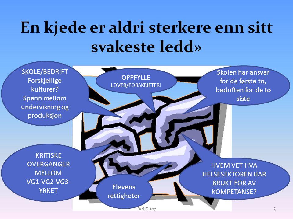 « En kjede er aldri sterkere enn sitt svakeste ledd» • Kari Glasø2 SKOLE/BEDRIFT Forskjellige kulturer.