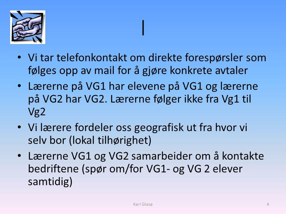 | • Vi tar telefonkontakt om direkte forespørsler som følges opp av mail for å gjøre konkrete avtaler • Lærerne på VG1 har elevene på VG1 og lærerne på VG2 har VG2.