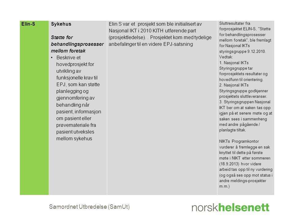 Samordnet Utbredelse (SamUt) Elin-SSykehus Støtte for behandlingsprosesser mellom foretak •Beskrive et hovedprosjekt for utvikling av funksjonelle kra