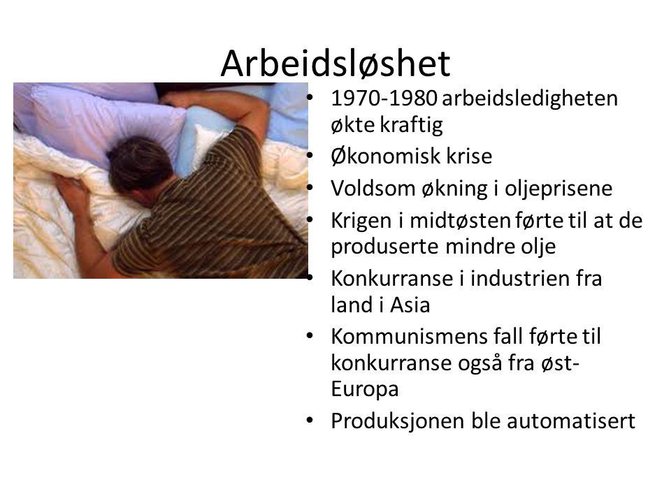 Arbeidsløshet • 1970-1980 arbeidsledigheten økte kraftig • Økonomisk krise • Voldsom økning i oljeprisene • Krigen i midtøsten førte til at de produse