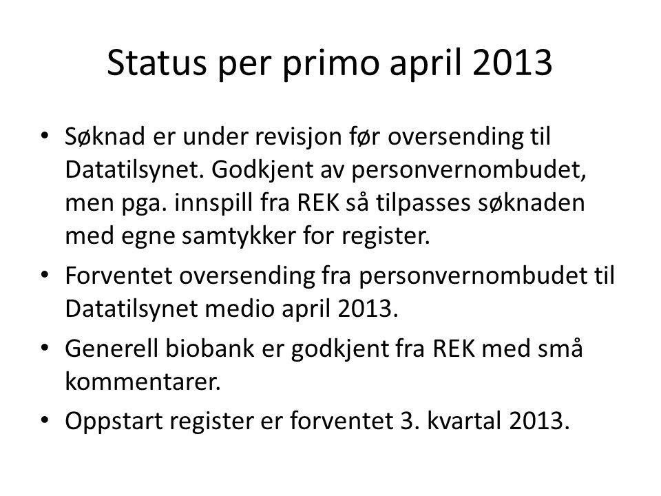 Status per primo april 2013 • Søknad er under revisjon før oversending til Datatilsynet. Godkjent av personvernombudet, men pga. innspill fra REK så t