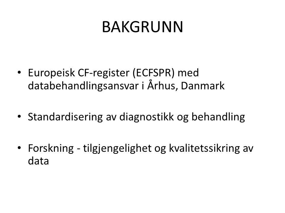 BAKGRUNN • Europeisk CF-register (ECFSPR) med databehandlingsansvar i Århus, Danmark • Standardisering av diagnostikk og behandling • Forskning - tilg