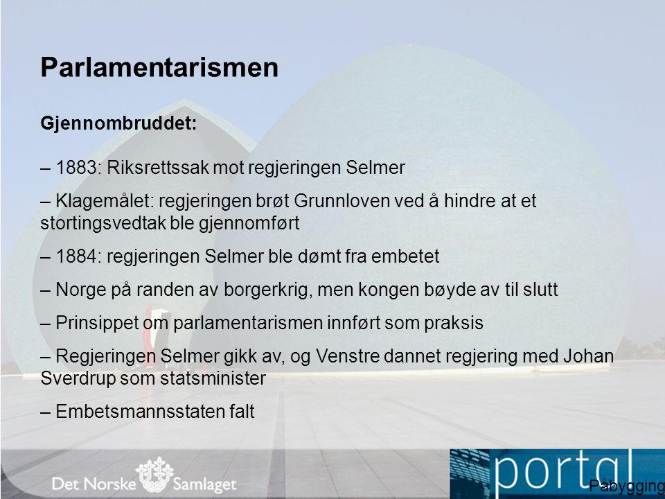 Parlamentarismen Gjennombruddet: – 1883: Riksrettssak mot regjeringen Selmer – Klagemålet: regjeringen brøt Grunnloven ved å hindre at et stortingsved