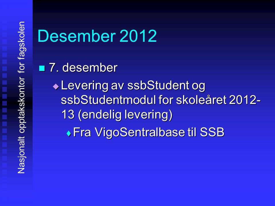 Desember 2012 7777. desember LLLLevering av ssbStudent og ssbStudentmodul for skoleåret 2012- 13 (endelig levering) FFFFra VigoSentralbase