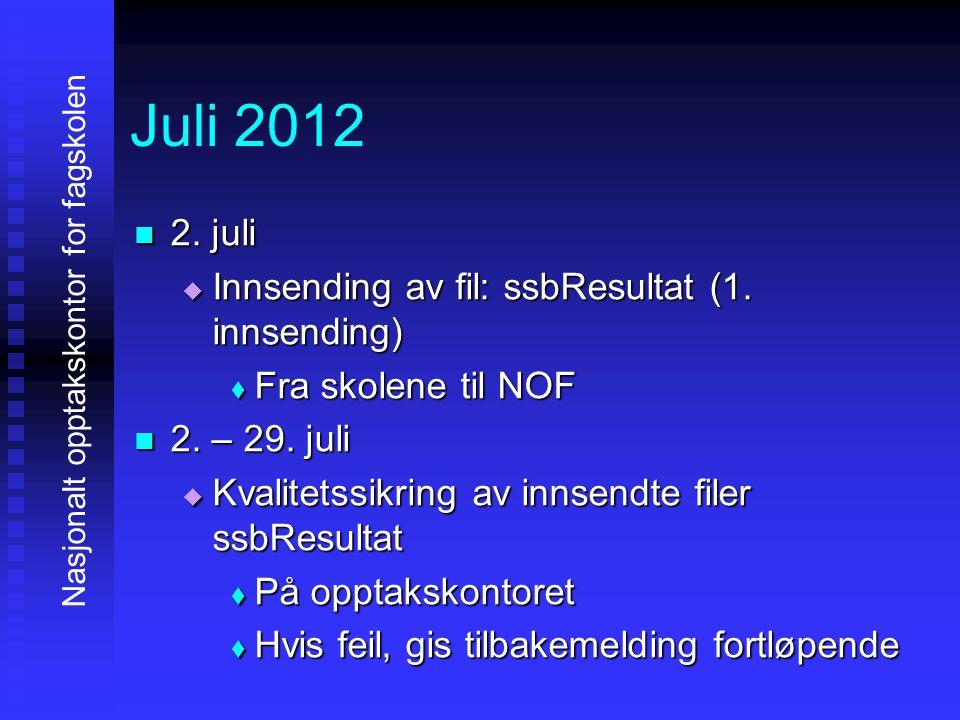 Juli 2012 2222. juli IIIInnsending av fil: ssbResultat (1. innsending) FFFFra skolene til NOF 2222. – 29. juli KKKKvalitetssikring