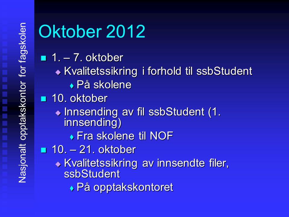 Oktober 2012 1111. – 7. oktober KKKKvalitetssikring i forhold til ssbStudent PPPPå skolene 11110. oktober IIIInnsending av fil ssb