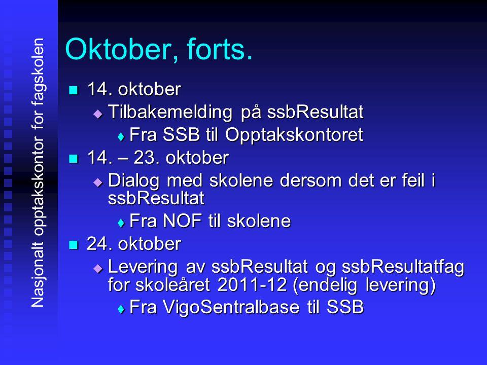 Oktober, forts. 11114. oktober TTTTilbakemelding på ssbResultat FFFFra SSB til Opptakskontoret 11114. – 23. oktober DDDDialog med
