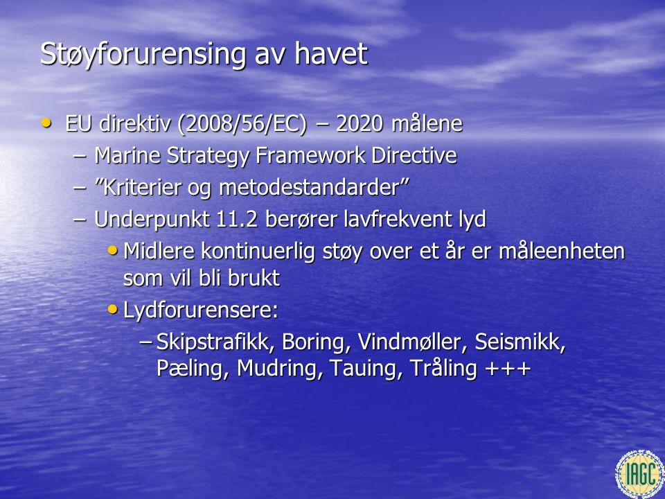 """Støyforurensing av havet • EU direktiv (2008/56/EC) – 2020 målene –Marine Strategy Framework Directive –""""Kriterier og metodestandarder"""" –Underpunkt 11"""