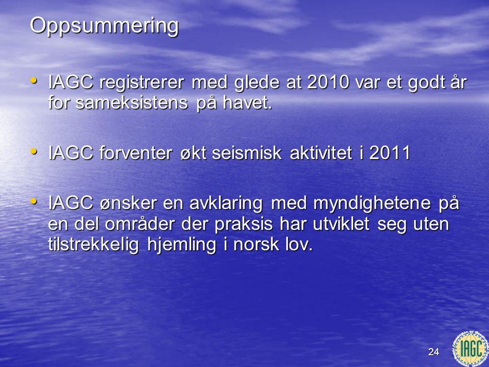 24Oppsummering • IAGC registrerer med glede at 2010 var et godt år for sameksistens på havet. • IAGC forventer økt seismisk aktivitet i 2011 • IAGC øn