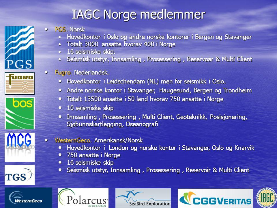 IAGC Norge medlemmer • PGS. Norsk •Hovedkontor i Oslo og andre norske kontorer i Bergen og Stavanger •Totalt 3000 ansatte hvorav 400 i Norge •16 seism