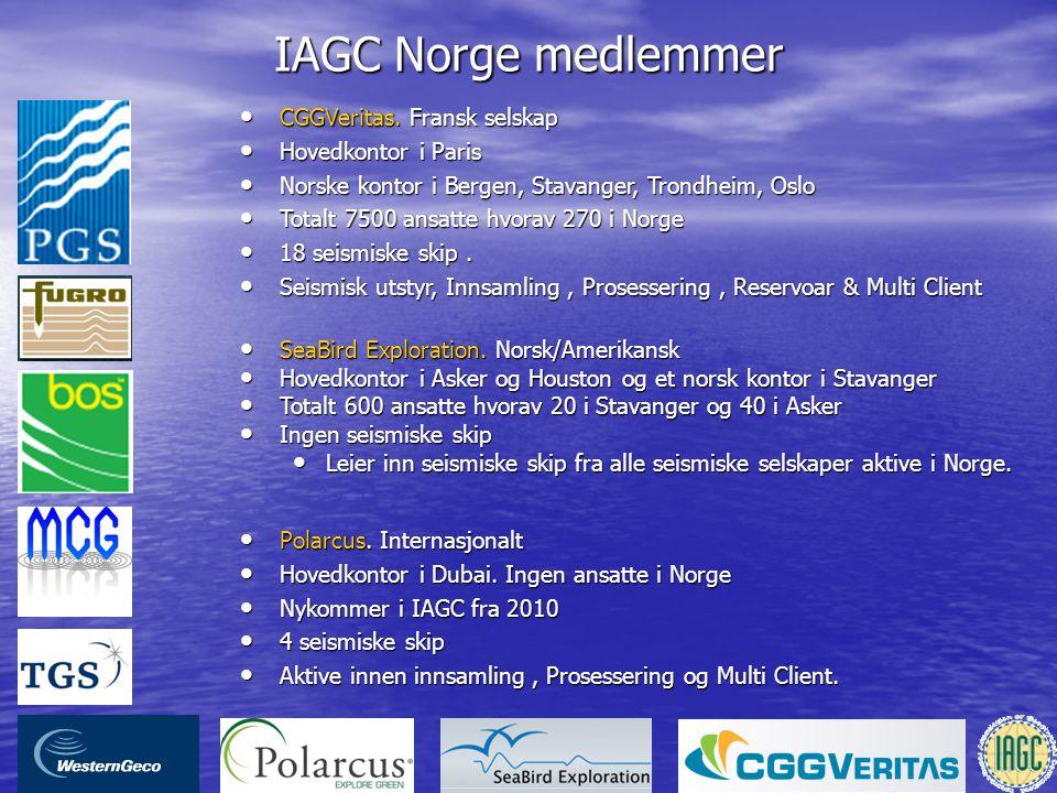 IAGC Norge medlemmer • Polarcus. Internasjonalt • Hovedkontor i Dubai. Ingen ansatte i Norge • Nykommer i IAGC fra 2010 • 4 seismiske skip • Aktive in