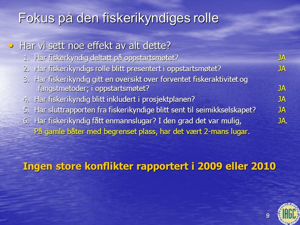 9 • Har vi sett noe effekt av alt dette? 1.Har fiskerkyndig deltatt på oppstartsmøtet? JA 2.Har fiskerikyndigs rolle blitt presentert i oppstartsmøtet