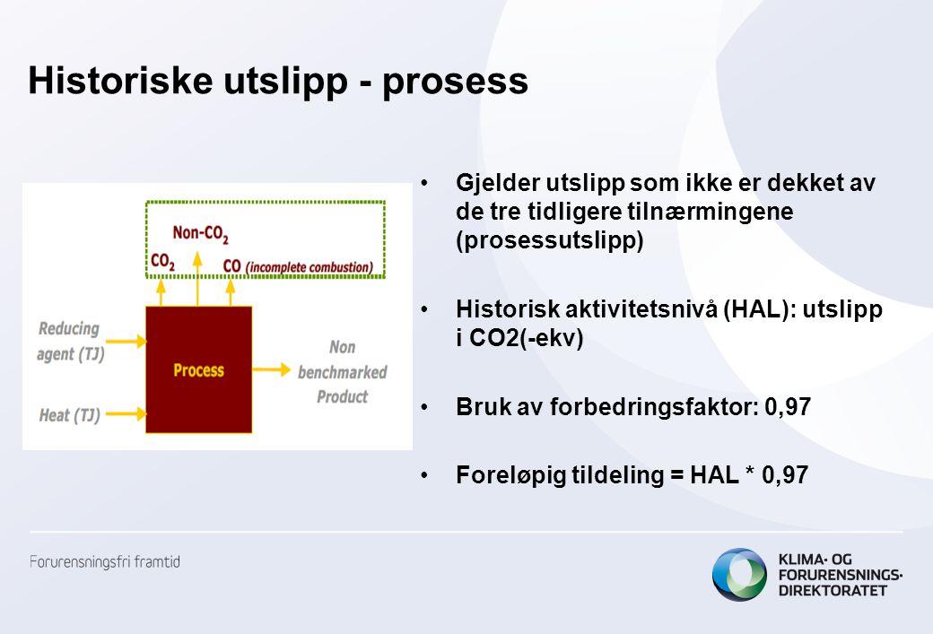 Historiske utslipp - prosess •Gjelder utslipp som ikke er dekket av de tre tidligere tilnærmingene (prosessutslipp) •Historisk aktivitetsnivå (HAL): utslipp i CO2(-ekv) •Bruk av forbedringsfaktor: 0,97 •Foreløpig tildeling = HAL * 0,97