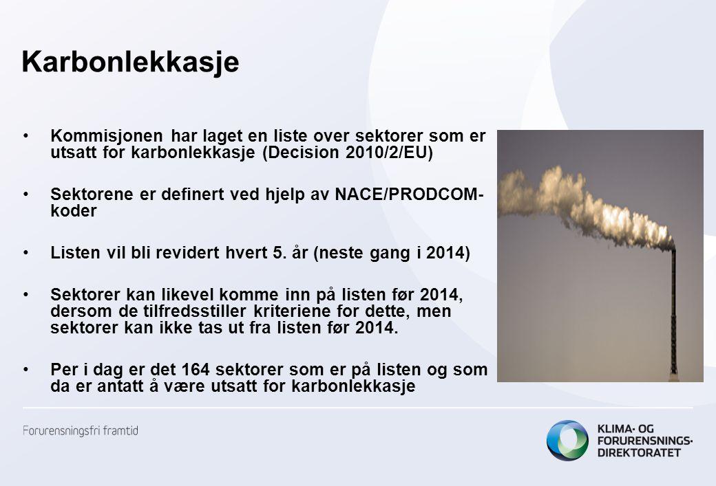 Karbonlekkasje •Kommisjonen har laget en liste over sektorer som er utsatt for karbonlekkasje (Decision 2010/2/EU) •Sektorene er definert ved hjelp av NACE/PRODCOM- koder •Listen vil bli revidert hvert 5.
